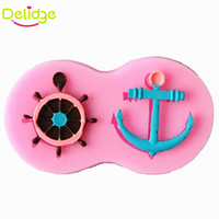 Wholesale Pirates Pc - Delidge 20 pcs Anchor Rudder Shape Cake Mold Silicone Anchor Fondant Mould Cupcake Decorating Pirate Ship Hook Anchor Cake Mold