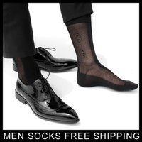 Wholesale Dress Socks For Men - Formal Dress suit silk socks for leather shoes Mens sexy socks thin Sheer gay sock fetish collection hose stockings