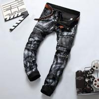 Wholesale Men Paint Jeans - Wholesale- Vintage Silver Paint Printed Ripped Rider Jeans Pants,2017 New Designer Fashion Jeans Men,Best Quality Brand Slim Men's Jeans