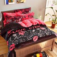 Wholesale Romantic Bedlinen - Wholesale- VS Pink Winter Bedding set velvet bedlinen duvet covers bed sheets bed clothes romantic bedspreads queen king size