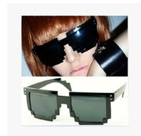 Wholesale Gamer Sunglasses - 15 colour Mosaic sunglasses Code Programmer Pixelated 8-Bit Black Sunglasses CPU Gamer Geek ABC90 50pcs  LOT