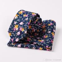 taobao modelleri toptan satış-Erkekler Baskılı pamuklu kravat cep havlu iki parçalı set kravat