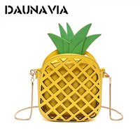Wholesale Girls Pu Leather Handbags - PU Women Bag For Women Lovely Pineapple Girl Messenger Bag With Chain Hollow Out Mini Purse 2017 Leather Cute Handbag