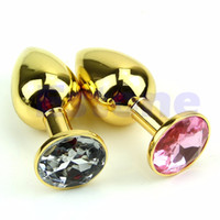 Wholesale Gold Plated Butt Plugs - Gold Alloy Chome Metal Plated Jeweled Butt Toy Plug Anal Insert Sexy Stopper