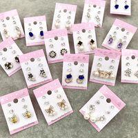 opal altın saplamaları toptan satış-Toptan Damızlık Taç Prenses Çapraz Düğün Küpe Moda 3 Çift / grup Gümüş Altın Rhinestone İnci Opal Zirkon Trendy Takı Ücretsiz DHL