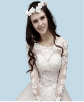 Wholesale Drapes Made China - Long Sleeve Wedding Dresses Classic A-Line Lace Bridal Wear Ball Gowns Floor-length Plus Size Wedding Dresses China