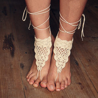 Wholesale Girls Crochet Wear - Crochet white barefoot sandals Nude shoes Foot jewelry Beach wear Yoga shoes Bridal anklet bridal beach accessories white lace sandels FJ036