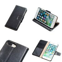 Wholesale Leather Handmade Iphone Cases - Yak Genuine Leather Photo Frame Wallet Case with Card Slots and Kickstand Handmade Business Flip Case For iPhone 7 Plus Opp Bag