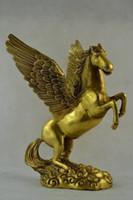 ingrosso vecchie sculture-Wonderful Collectibles Old Decorated Handwork Brass Pegasus Statue sculpture