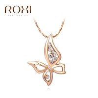 Wholesale Lucky Brand Necklaces - ROXI Brand New Butterfly Pendant Fashion Rose Gold Color Chain Calabash Sales Lucky Necklace Women Party Wedding Bridal Jewelry