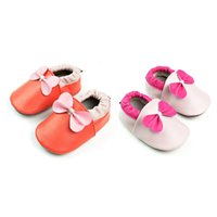 Wholesale genuine leather baby moccasins for sale - Baby Moccasins Cute Bowknot Genuine Leather Prewalker Shoes First Walking Shoes Soft Sole Anti slip Infant Shoes