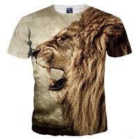 Wholesale ferocious animals - 3D T shirts New Fashion Men Women 3d T-shirt Print Ferocious Lion Animal Quick Dry Tshirts Summer Tops Tees