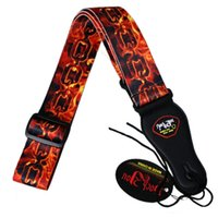 Wholesale iron materials - Acoustic Electric Bass Guitar Belt Strap Vivid Flaming Iron Chain Pattern Strap Durable Soft Nylon Material