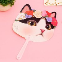 Wholesale Summer Cute Fan - Cute Cat Plastic Hand Fan Cartoon Animal Kitten Summer Accessories For Girl Kids Birthday Party Flavors And Gifts ZA2847