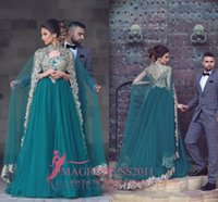 Wholesale Coral Cape Sleeve Dress - Myriam Fares 2017 Arabic Green A-Line Evening Dresses With Cape Long Train Long Sleeves Gold Embroidery Musilm Prom Party Gowns Formal Wear