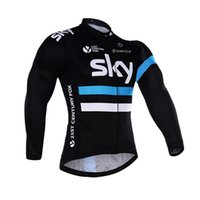 Wholesale Sky Team Long Sleeve Cycling - Free shipping UCI team sky cycling jersey 100% polyester quick dry Long sleeve sky jersey Ropa Ciclismo MTB bike wear