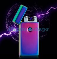 Wholesale Electric Cigarette Wholesale - Electronic Lighter DUAL Arc Windproof Ultra-thin Metal Pulse USB Rechargeable Flameless Electric Arc Cigar Cigarette Lighter Hot Sales