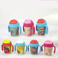 Wholesale Cute Plastic Straws - Baby Drinking Cup Cute Cartoon Bamboo Fiber Infant Drinkings Cups Multi Purpose Handheld Seal Up Straw Mug Variety Selection 30ae E R