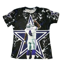 Wholesale Tee Shirts For Wholesale - Wholesale- New Arrivals 3D Printed T-shirts Rookie Quarteback Dak Prescott Graphic Summer Tops Short Sleeve Casual Tees For Dallas Fans