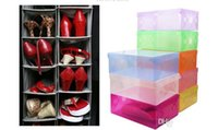 New Arrival Transparente Stackable Crystal Clear Plastic Shoe Clamshell Storage Boxes 10pcs por lote Frete Grátis