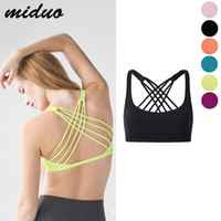 Wholesale Tight Sexy Bra Black - The New Popular Sexy Candy Color Coat Shockproof Quick Dry Tight Sports Underwear With Hollow Cross Back Bra Bandage Yoga Female Vest