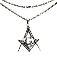 Wholesale masonic silver resale online - Silver tone stainless steel sculpture Freemasonry Masonic Mason Pendant necklace N282