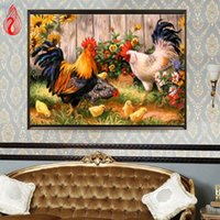Wholesale canvas painting framed - YGS-203 DIY 5D Full Diamond Embroidery Peasant henhouse Round Diamond Painting Cross Stitch Kits Diamond Mosaic Home Decoration