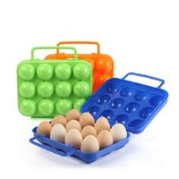 Wholesale Plastic Egg Carriers - Wholeslae Outdoor Plastic Egg Container Sotrage Box Holder 12 Grids Camping Egg Carrier Box With Handle Free Shipping
