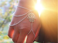 Wholesale Hamsa Charms For Bracelets - Newest Fashion Bracelets for women Hamsa Fatima Asymmetric Tassel Bracelet Finger Ring Slave Chain Hand Harness Bangle