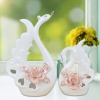Wholesale Wood Ornaments Furniture - New Product Ceramics Arts And Crafts 1302 The Wedding Swan Goods Of Furniture For Display Rather Than For Use Fashion New Peculiar Home Furn
