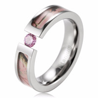 Wholesale Pink Cz Stone - Best Seller 5mm Titanium AAA CZ stone inlaid Pink Realtree AP Pink Camo Engagement Ring Camo wedding band