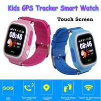 Wholesale Gift Boxed Watches For Children - GPS Smart Kid Watch Kids Children Xmas Gift SOS LBS Call Location Tracker Wifi Touch Screen SIM Slot Wristwatch Q90 Present Retail Box