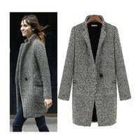 Wholesale One Button Slim Female Jacket - Free shipping Fashion Women Winter Woolen Coat 2018 Outwear Long Sleeve One Button Warm Jacket Overcoats Plus Size 3XL Female H150