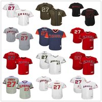 Wholesale Blue Angels - 27 Mike Trout Los Angeles Angels of Anaheim Nickname White Pull Down Red Fashion Stars Gray Army Green LA Stitched MLB Baseball Jerseys Sale