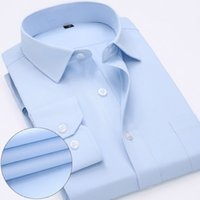 Wholesale Cheap Long Sleeves Shirt - Wholesale- Brand New Men Shirt Cheap Solid Business Formal Shirt Long Sleeve Casual Male Social Dress Shirts Slim Fit camisa masculina