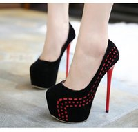 Wholesale Spring Heel Shoes - Women Super High Heels Platform Pumps Party Club Sexy Dance Shoes 16cm 2017 Spring Size 35 To 40