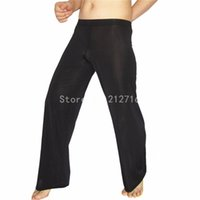 Wholesale Sheer Leggings Pants - Wholesale- Men's Comfortable Ice Silky Sheer Loose johns Pants Leggings Trousers Silky Sexy Pouch ultra-thin Undearpants Size M L XL