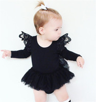 Wholesale Girls Rompers Black White - 2017 Girls Baby Rompers Fly Long Sleeve Newborn Onesies Gauze Dress Cotton Toddler Romper Cute Pinkycolor Infant Bodysuit Boutique Clothes