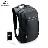 Wholesale External Usb For Notebook - Wholesale- Kingsons Brand External USB Charge Antitheft Notebook Backpack-B Design for Women 15.6'' Waterproof Laptop Backpack Computer Bag