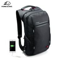 Wholesale- Kingsons Marca External USB Charge Antitheft Notebook Backpack-B Design para Mulheres 15,6 '' Waterproof Laptop Backpack Computer Bag