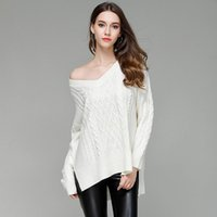 Wholesale england wool sweater - 2017 Autumn Women Sexy Sweaters Pullovers Thick Brand Long Sleeve V-neck Casual Loose Solid Color Gray White Party Elegant Knitwear