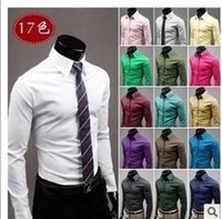 Wholesale Hot Mens Shirts - Wholesale- New Mens Formal Business Shirts Casual Slim Fit Long Sleeve Dresse Shirts Summer 2016 Hot Sale High Quality