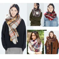 Wholesale Wholesale Shawls Wraps For Fall - 2017 Scarf for Women Fall Winter Plaid Scarves Brand Long Pashmina Neckerchief Designer Wraps Stoles Shawl Style New