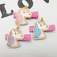Wholesale Embroidered Hair Clip - Girl Hair clips Barrettes unicorn embroider horse Hair accessories Hotsale Cute baby gifts Boutique Accessories 2016 European wholesale Pink