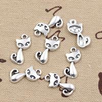 Wholesale antique fox pendant - Wholesale- 99Cents 15pcs Charms cat fox 17*9mm Antique Making pendant fit,Vintage Tibetan Silver,DIY bracelet necklace