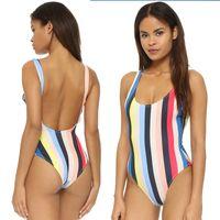 Wholesale Colorful Padded Bra - 2017 Womens Bandage Push-up Bikini Set Padded Bra Triangle Swimsuit Sexy Colorful stripes Swimwear hight quality free shipping DHL