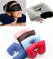 Wholesale Eyes Inflatables - 2017 3in1 Travel Office Set Inflatable U Shaped Neck Pillow Air Cushion + Sleeping Eye Mask Eyeshade + Earplugs