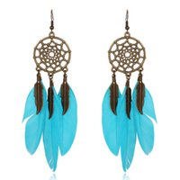 Wholesale Mesh Dangle - Hot selling simple circular mesh a variety of colorful Feather Earrings FZ60