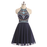 Wholesale China Girls Wear - Real Photos Halter New Brand Short Homecoming Dresses Girls Cocktail Party Gowns 2017 Cheap China Prom Dresses SH1024