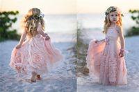kızlar için uzun pembe elbiseler toptan satış-Düğün Için ucuz Pembe Çiçek Kız 'Elbiseler 2017 El Yapımı Çiçekler Dantel Aplike Ruffles Çocuklar Resmi Giyim Uzun Plaj kızın Pageant Elbise